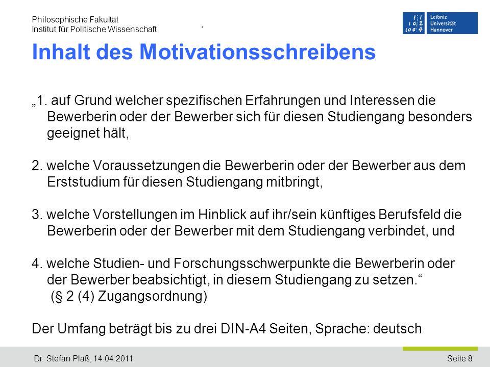 Inhalt des Motivationsschreibens
