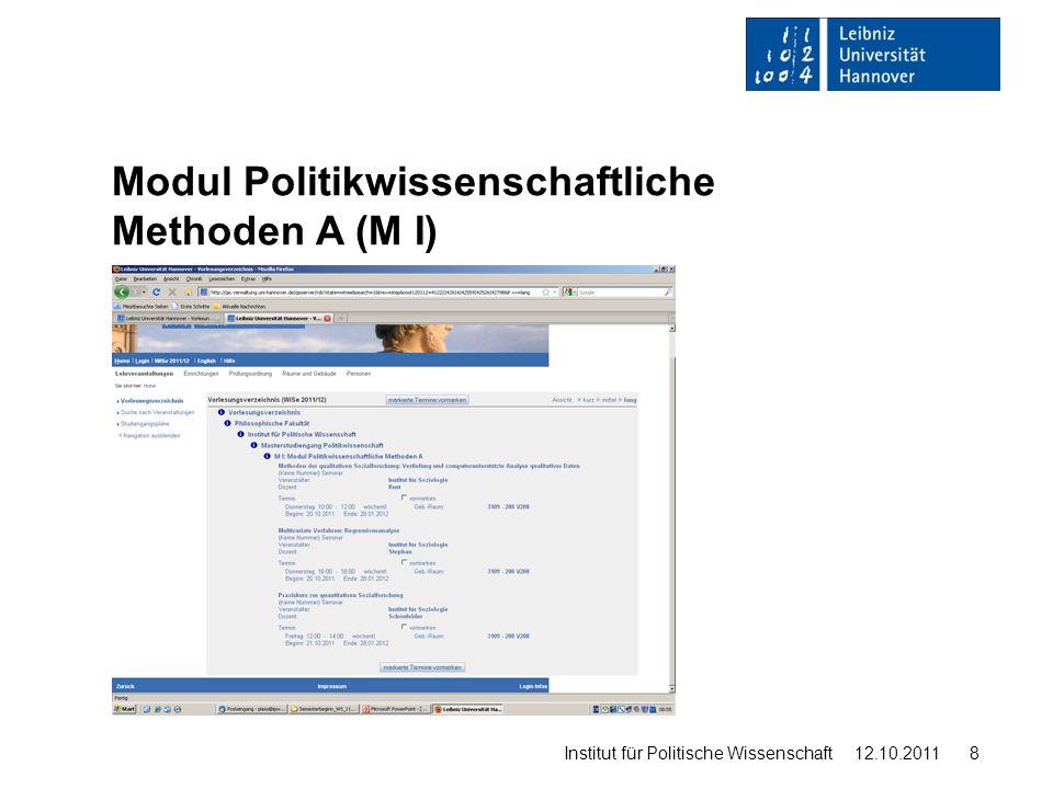 Modul Politikwissenschaftliche Methoden A (M I)