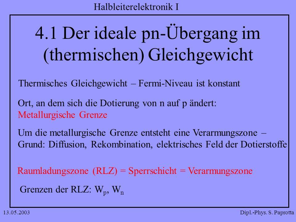 4.1 Der ideale pn-Übergang im (thermischen) Gleichgewicht