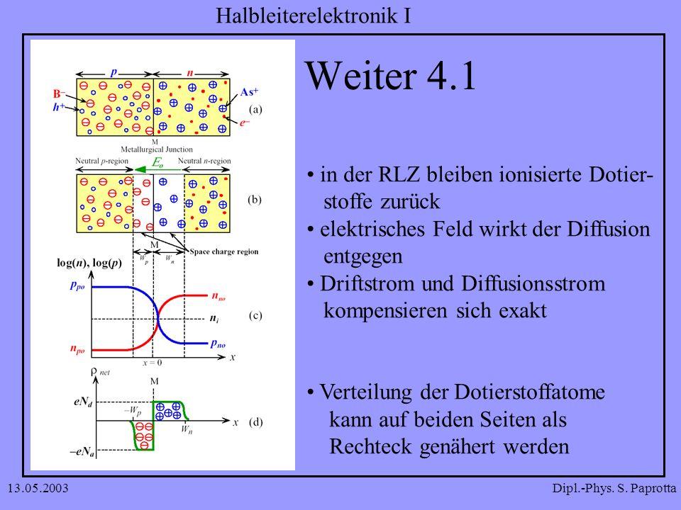 Weiter 4.1 in der RLZ bleiben ionisierte Dotier- stoffe zurück
