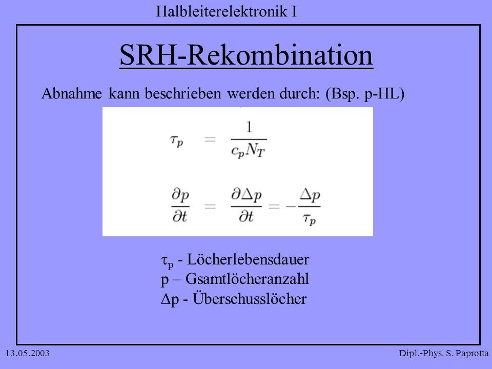 SRH-Rekombination Abnahme kann beschrieben werden durch: (Bsp. p-HL)