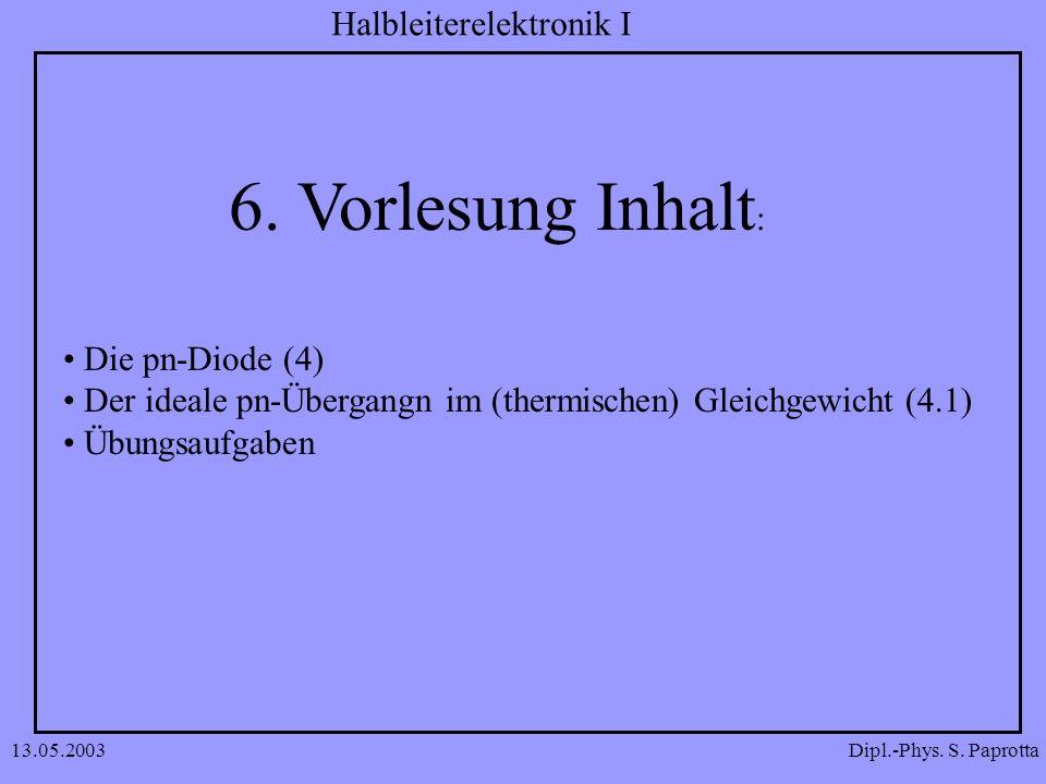 6. Vorlesung Inhalt: Die pn-Diode (4)