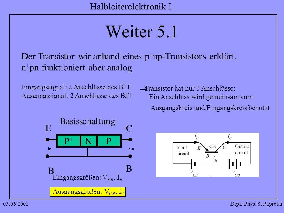 Weiter 5.1 Der Transistor wir anhand eines p+np-Transistors erklärt,