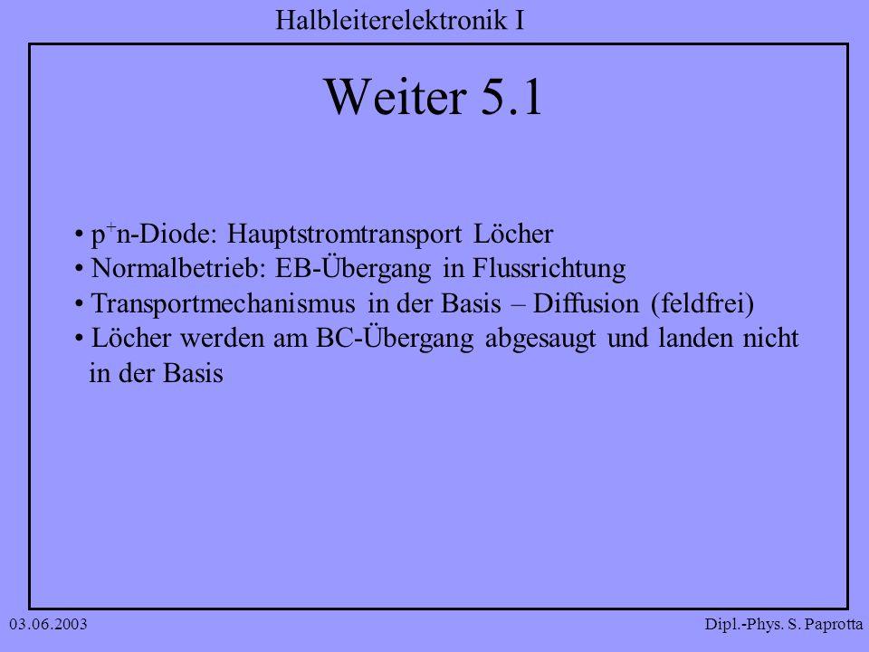Weiter 5.1 p+n-Diode: Hauptstromtransport Löcher