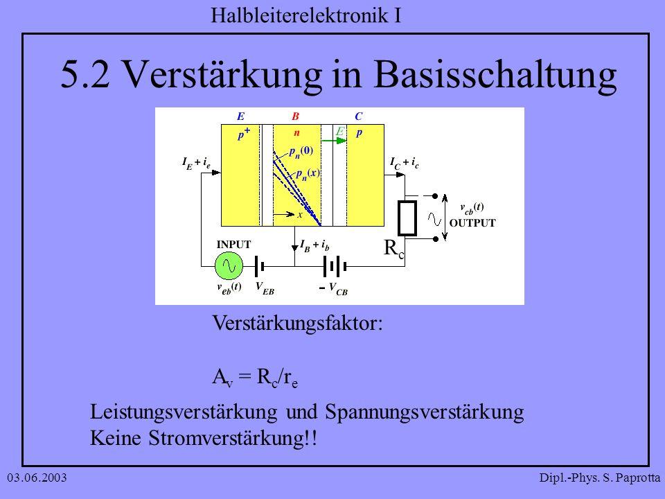 5.2 Verstärkung in Basisschaltung