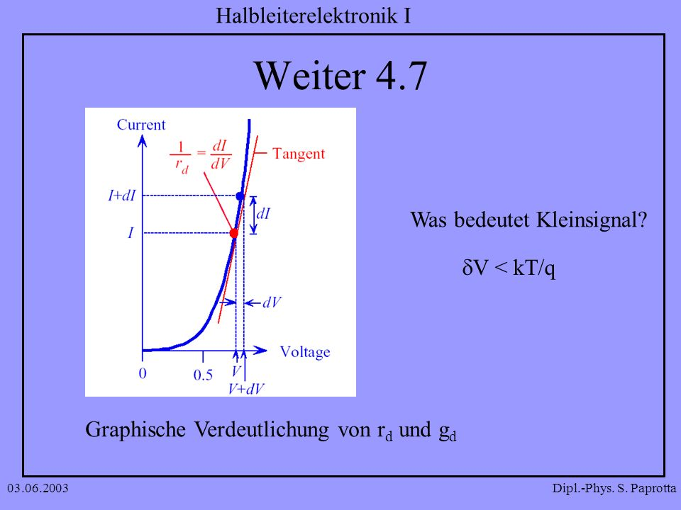 Weiter 4.7 Was bedeutet Kleinsignal dV < kT/q