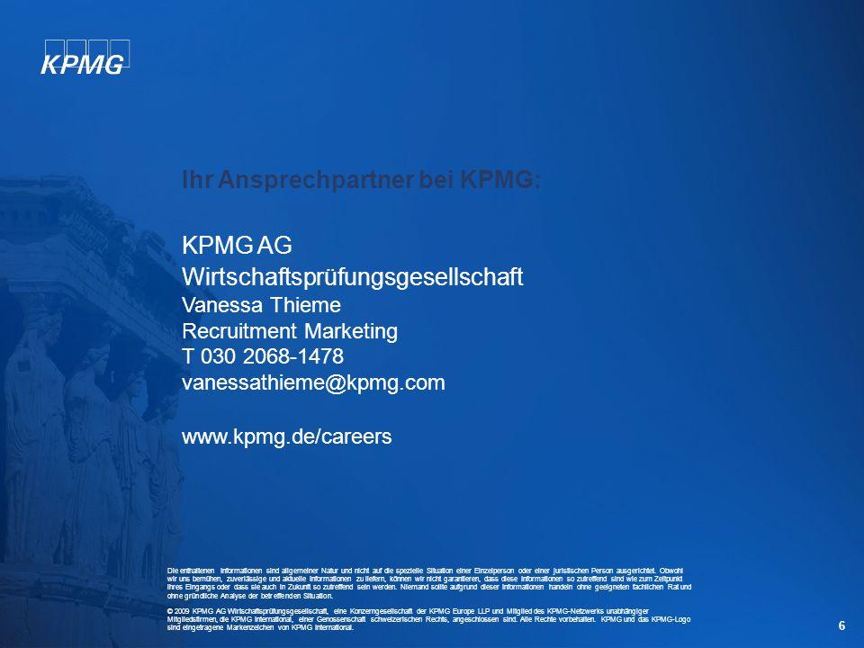 Ihr Ansprechpartner bei KPMG: KPMG AG