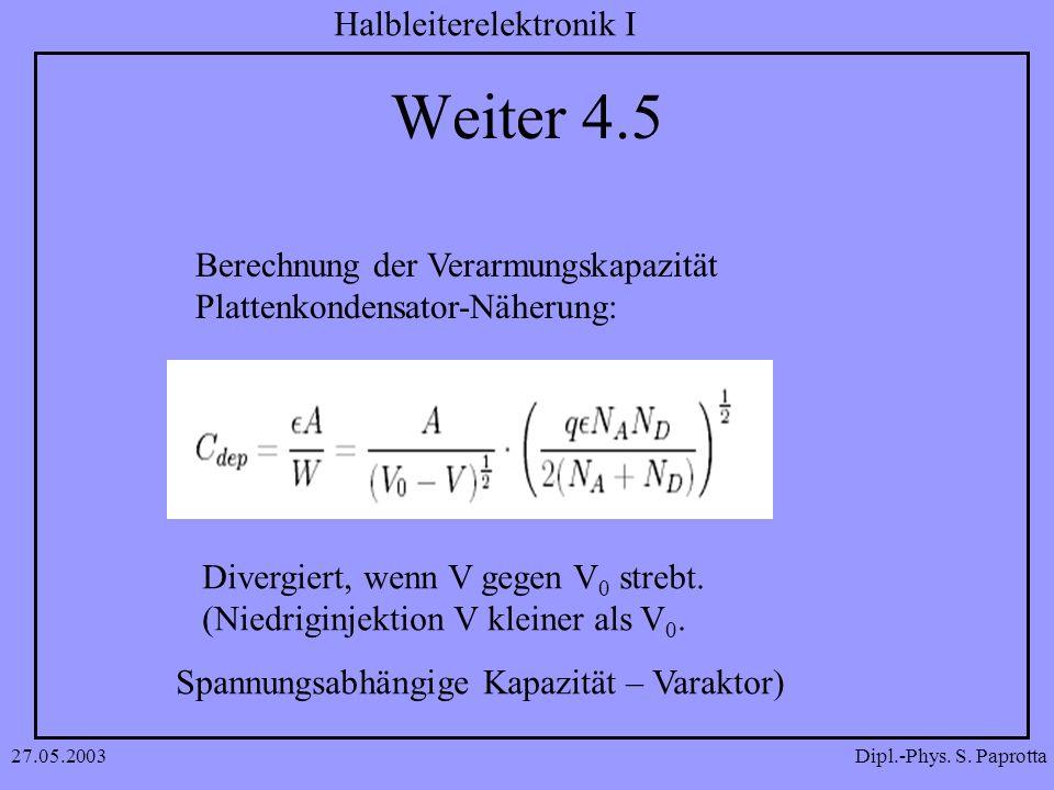 Weiter 4.5 Berechnung der Verarmungskapazität