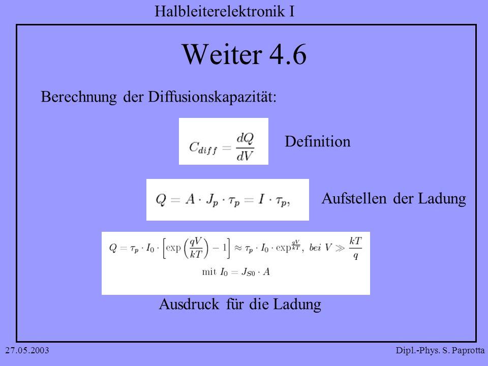 Weiter 4.6 Berechnung der Diffusionskapazität: Definition