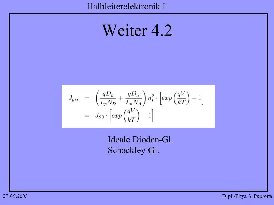 Weiter 4.2 Ideale Dioden-Gl. Schockley-Gl. 27.05.2003