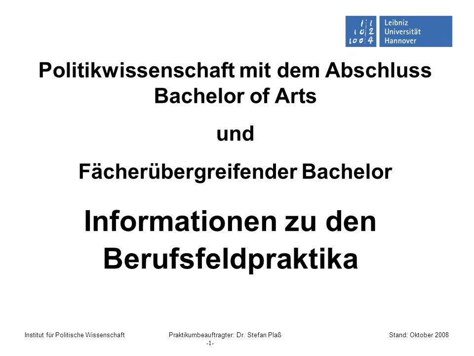 Informationen zu den Berufsfeldpraktika