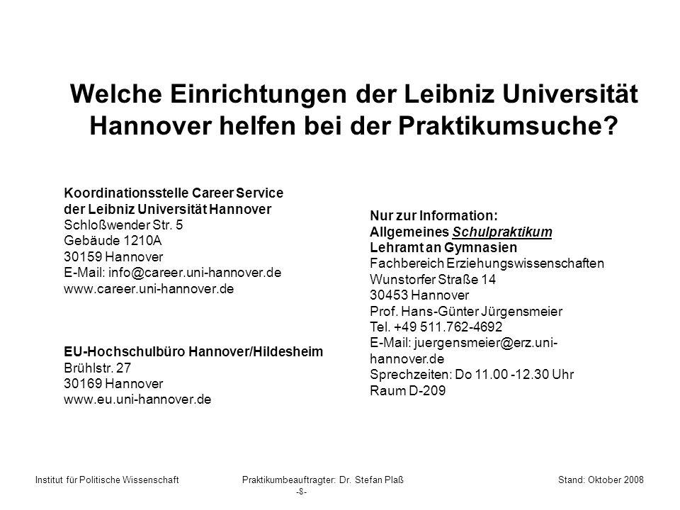 Welche Einrichtungen der Leibniz Universität Hannover helfen bei der Praktikumsuche