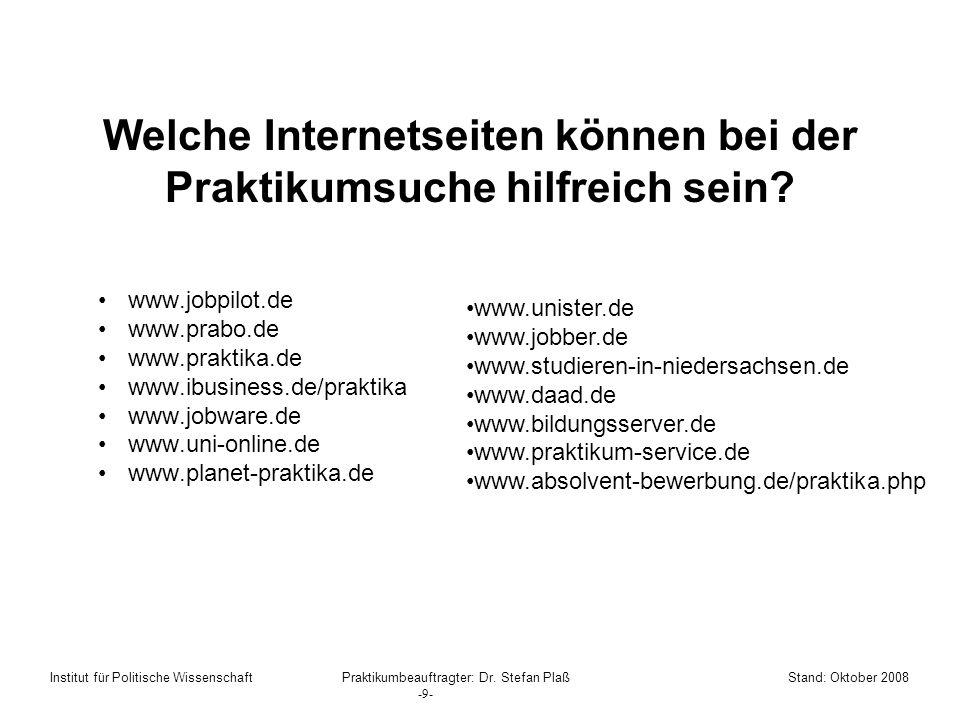 Welche Internetseiten können bei der Praktikumsuche hilfreich sein