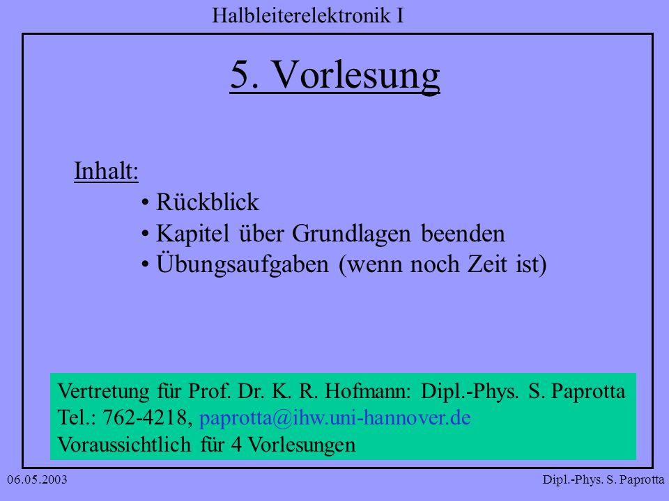5. Vorlesung Inhalt: Rückblick Kapitel über Grundlagen beenden