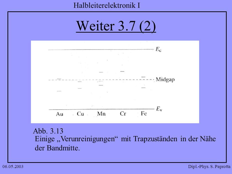 """Weiter 3.7 (2) Abb. 3.13. Einige """"Verunreinigungen mit Trapzuständen in der Nähe. der Bandmitte."""