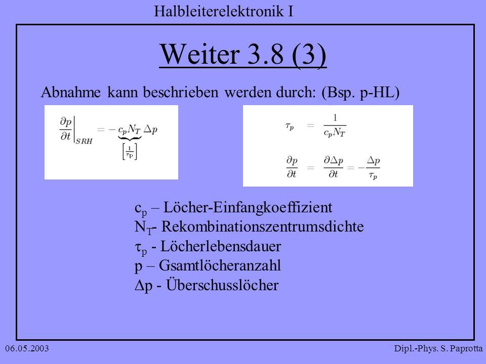 Weiter 3.8 (3) Abnahme kann beschrieben werden durch: (Bsp. p-HL)