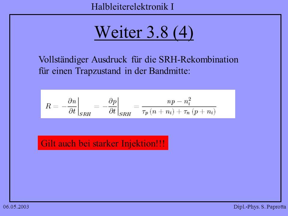 Weiter 3.8 (4) Vollständiger Ausdruck für die SRH-Rekombination