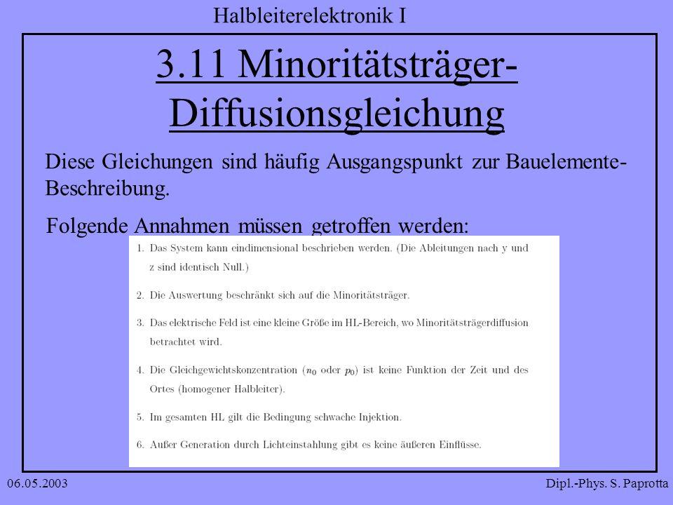 3.11 Minoritätsträger-Diffusionsgleichung