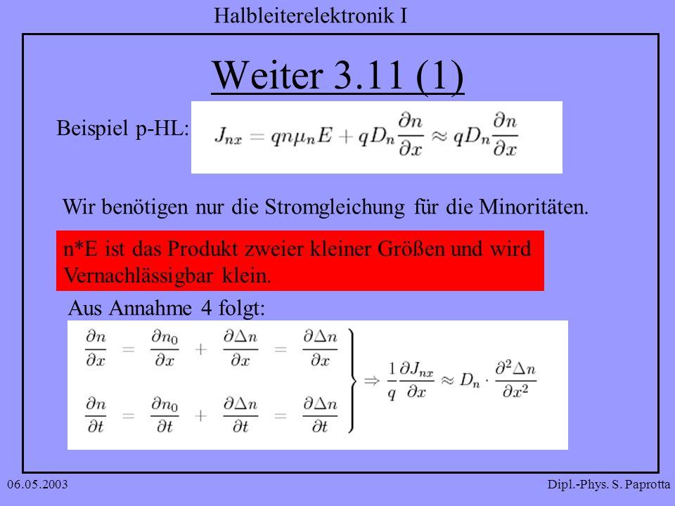 Weiter 3.11 (1) Beispiel p-HL: