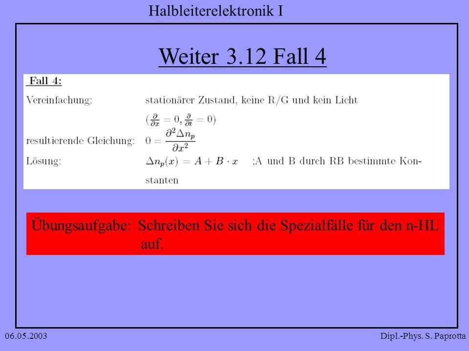 Weiter 3.12 Fall 4 Übungsaufgabe: Schreiben Sie sich die Spezialfälle für den n-HL auf. 06.05.2003