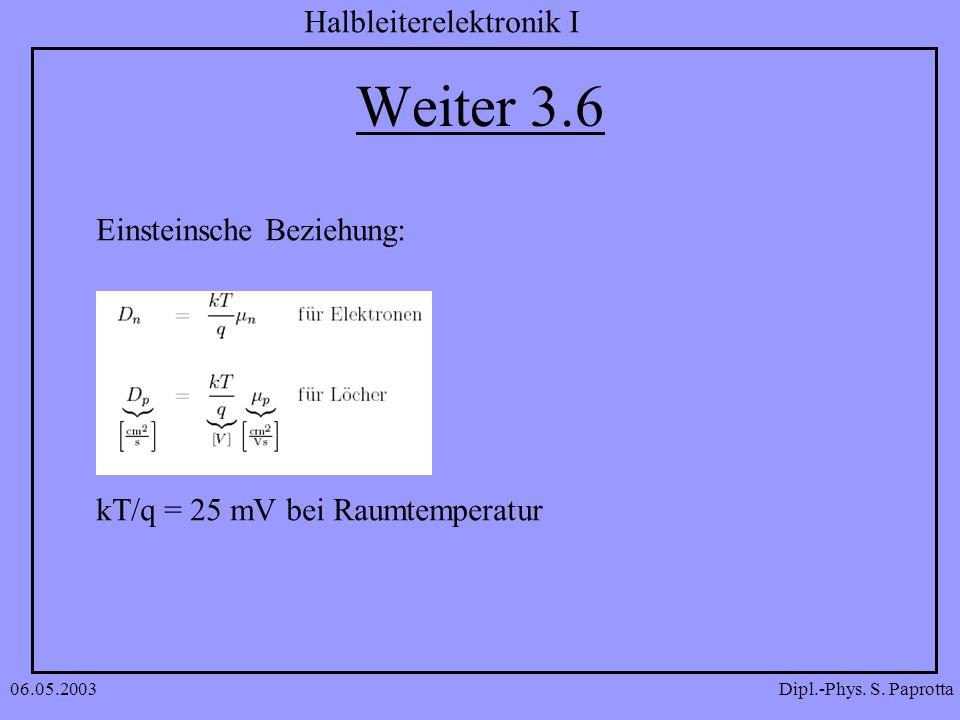 Weiter 3.6 Einsteinsche Beziehung: kT/q = 25 mV bei Raumtemperatur