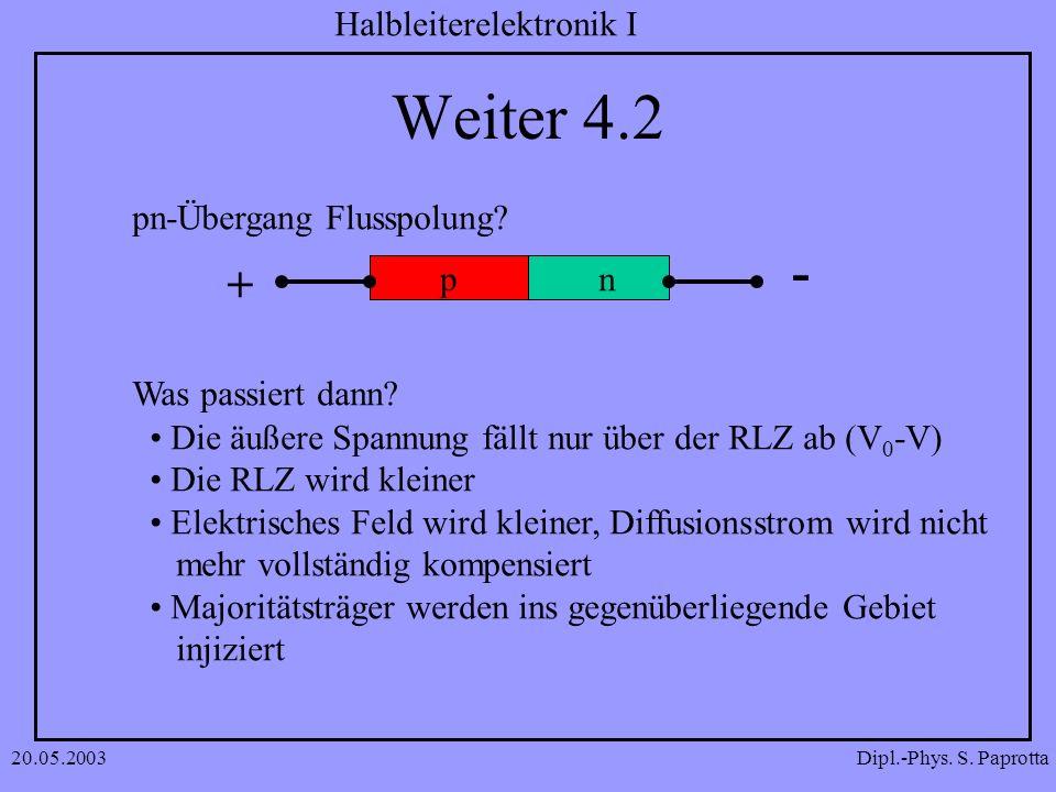 Weiter 4.2 - + pn-Übergang Flusspolung p n n Was passiert dann