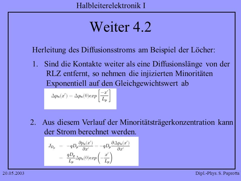 Weiter 4.2 Herleitung des Diffusionsstroms am Beispiel der Löcher: