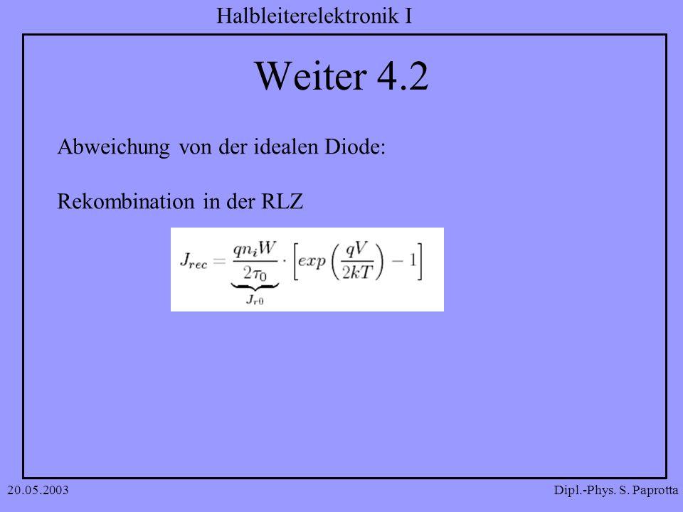 Weiter 4.2 Abweichung von der idealen Diode: Rekombination in der RLZ