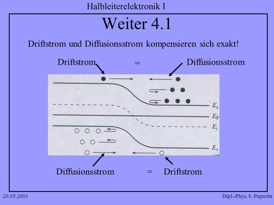Weiter 4.1 Driftstrom und Diffusionsstrom kompensieren sich exakt!