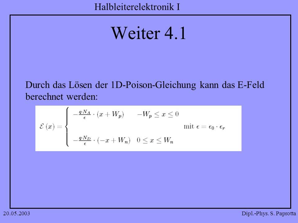 Weiter 4.1 Durch das Lösen der 1D-Poison-Gleichung kann das E-Feld