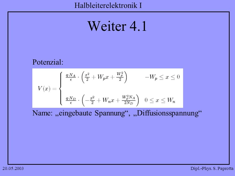 "Weiter 4.1 Potenzial: Name: ""eingebaute Spannung , ""Diffusionsspannung 20.05.2003"