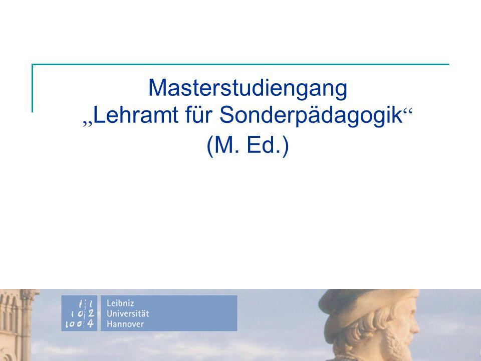 "Masterstudiengang ""Lehramt für Sonderpädagogik (M. Ed.)"