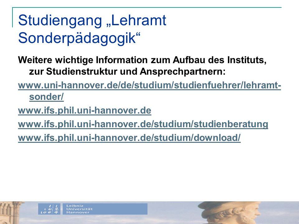 "Studiengang ""Lehramt Sonderpädagogik"