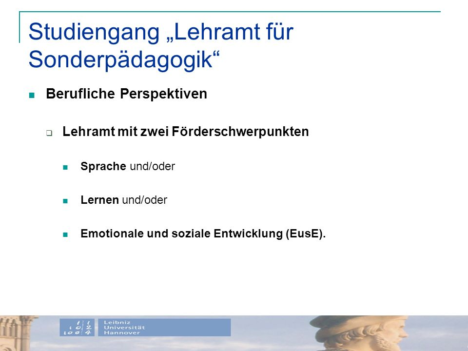 """Studiengang """"Lehramt für Sonderpädagogik"""