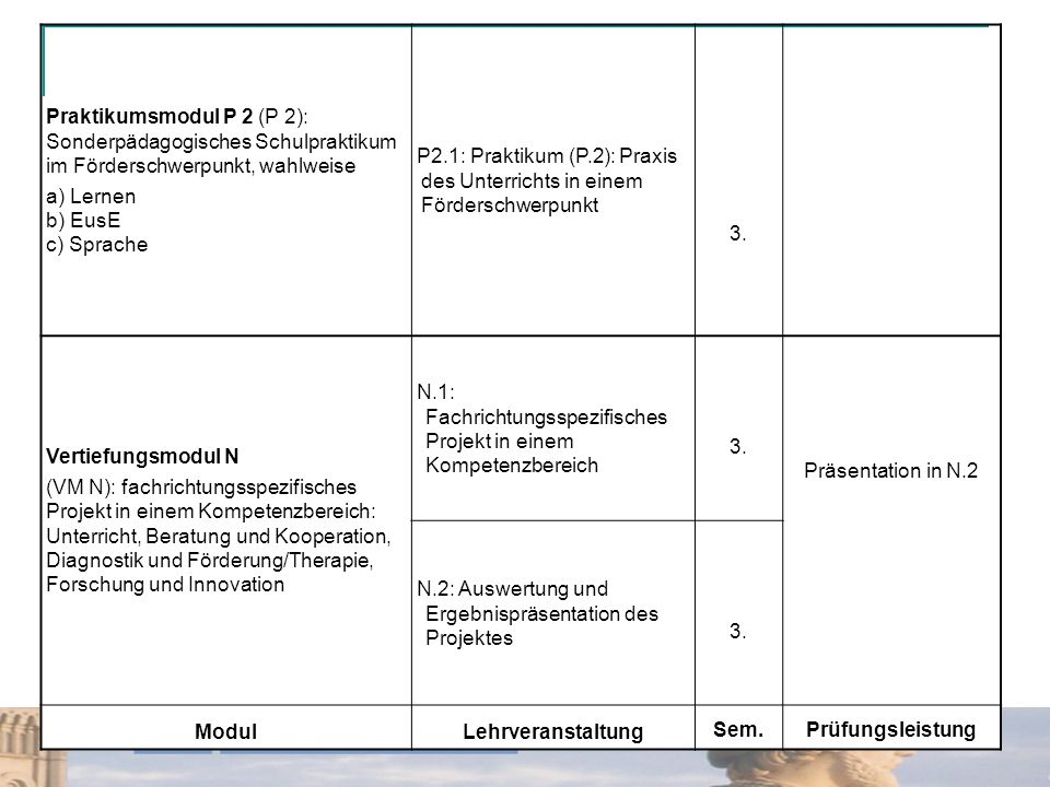 Praktikumsmodul P 2 (P 2): Sonderpädagogisches Schulpraktikum im Förderschwerpunkt, wahlweise