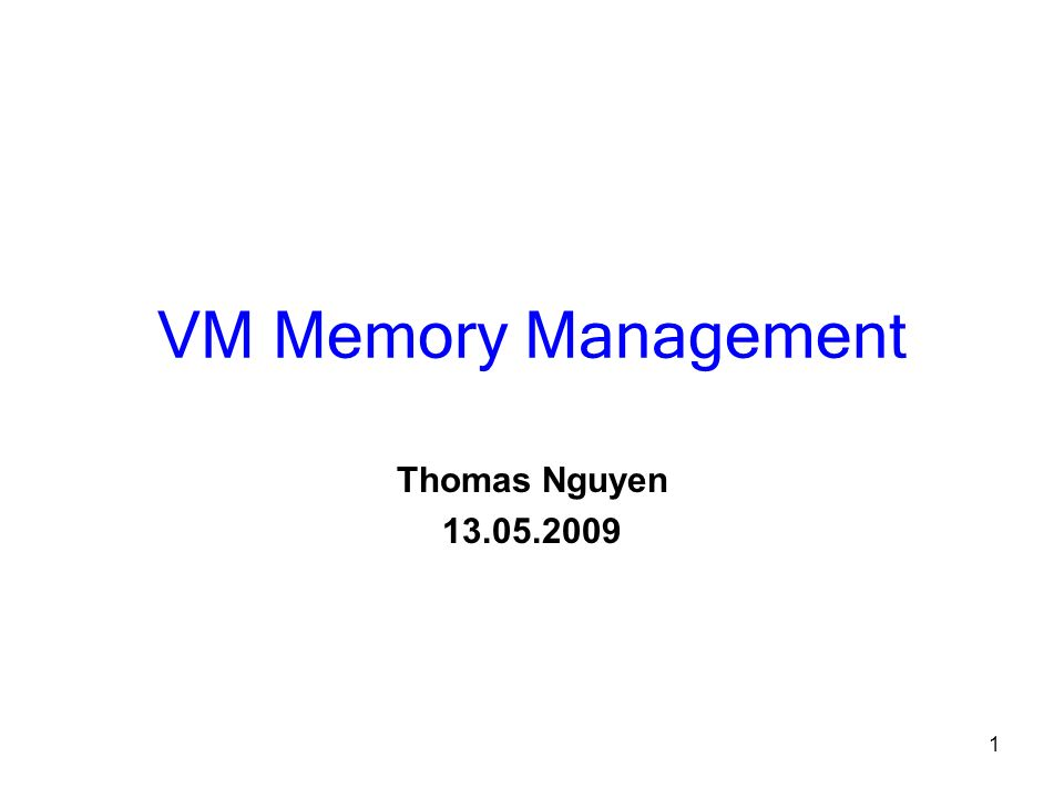 VM Memory Management Thomas Nguyen 13.05.2009