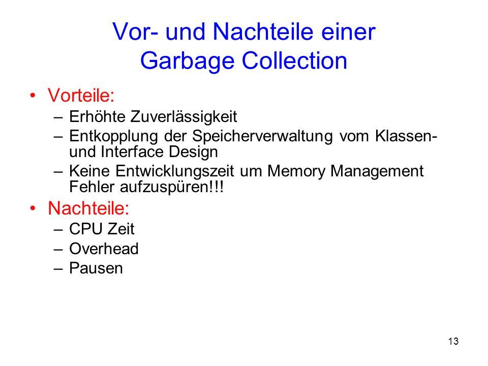 Vor- und Nachteile einer Garbage Collection