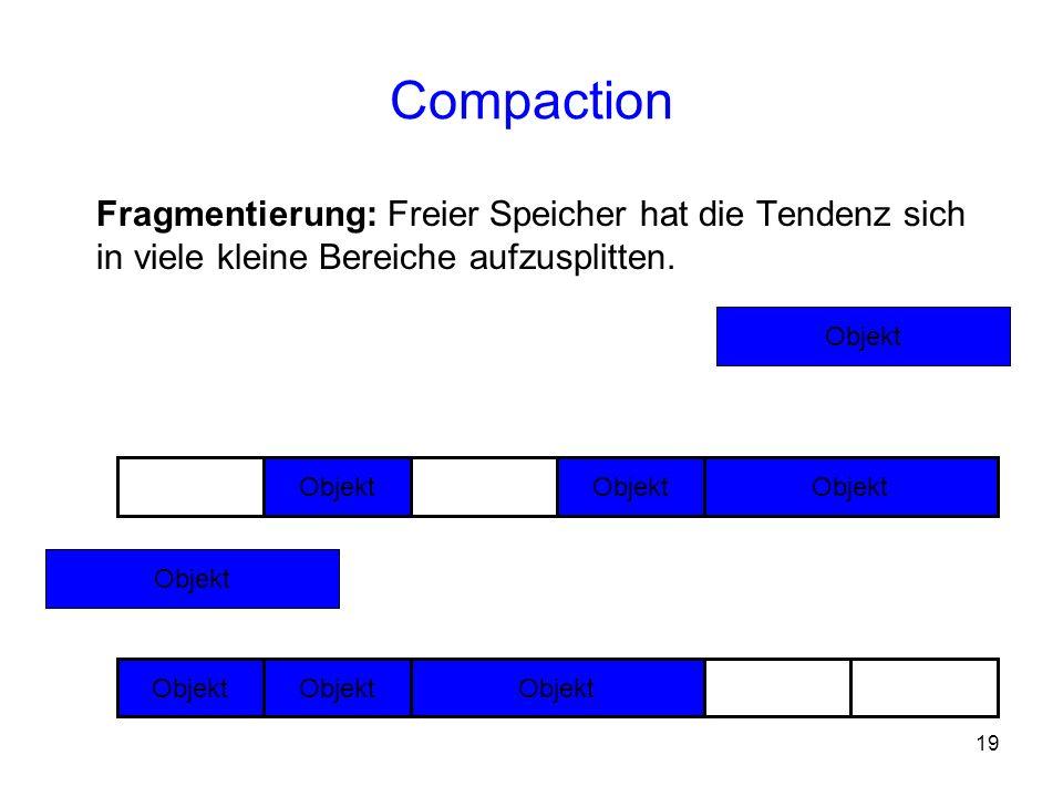 Compaction Fragmentierung: Freier Speicher hat die Tendenz sich in viele kleine Bereiche aufzusplitten.