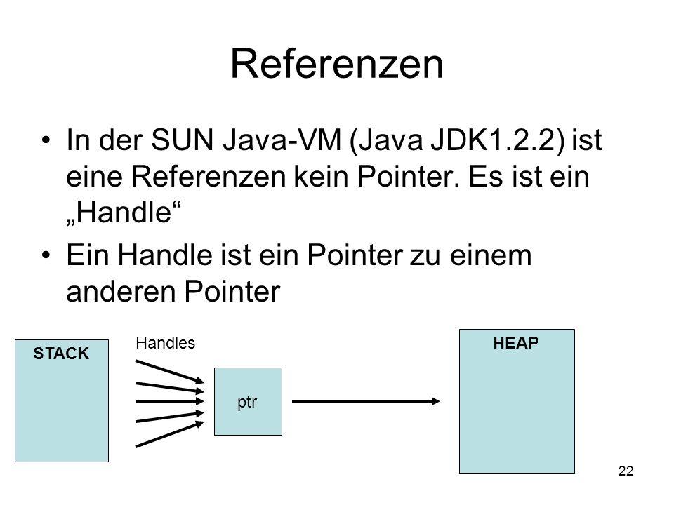"""ReferenzenIn der SUN Java-VM (Java JDK1.2.2) ist eine Referenzen kein Pointer. Es ist ein """"Handle"""