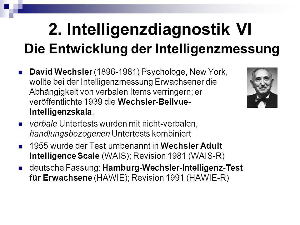 2. Intelligenzdiagnostik VI Die Entwicklung der Intelligenzmessung
