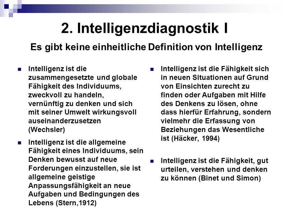 2. Intelligenzdiagnostik I Es gibt keine einheitliche Definition von Intelligenz