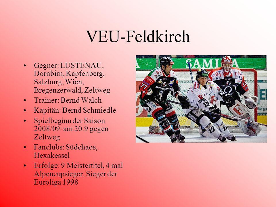 VEU-Feldkirch Gegner: LUSTENAU, Dornbirn, Kapfenberg, Salzburg, Wien, Bregenzerwald, Zeltweg. Trainer: Bernd Walch.