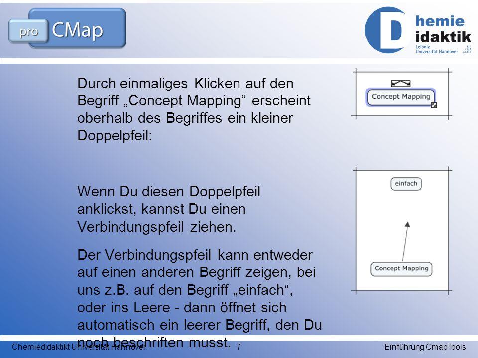 """Durch einmaliges Klicken auf den Begriff """"Concept Mapping erscheint oberhalb des Begriffes ein kleiner Doppelpfeil: Wenn Du diesen Doppelpfeil anklickst, kannst Du einen Verbindungspfeil ziehen. Der Verbindungspfeil kann entweder auf einen anderen Begriff zeigen, bei uns z.B. auf den Begriff """"einfach , oder ins Leere - dann öffnet sich automatisch ein leerer Begriff, den Du noch beschriften musst."""