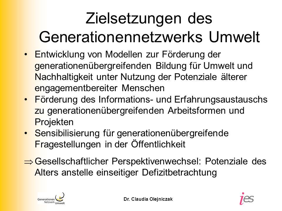 Zielsetzungen des Generationennetzwerks Umwelt