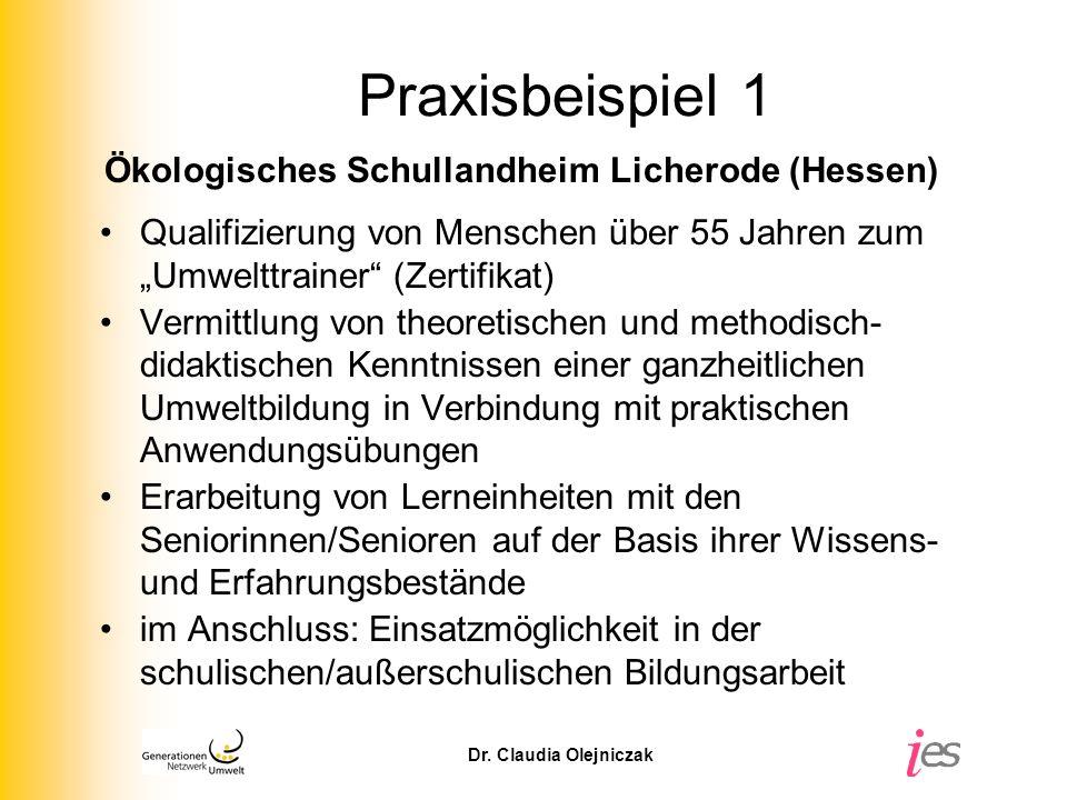 Praxisbeispiel 1 Ökologisches Schullandheim Licherode (Hessen)