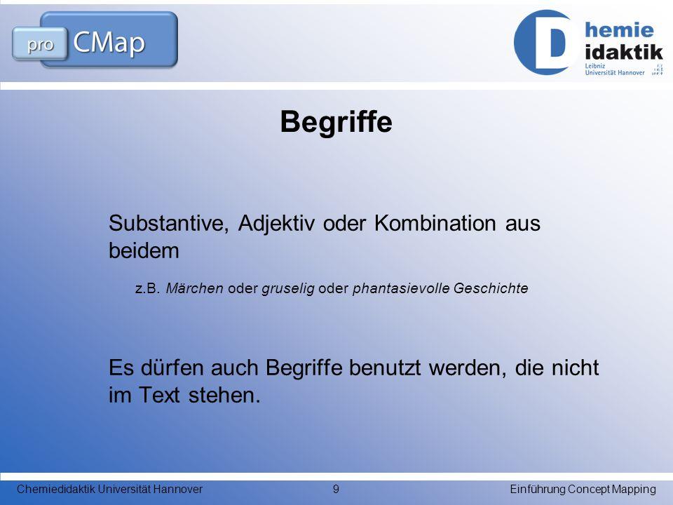 Begriffe Substantive, Adjektiv oder Kombination aus beidem
