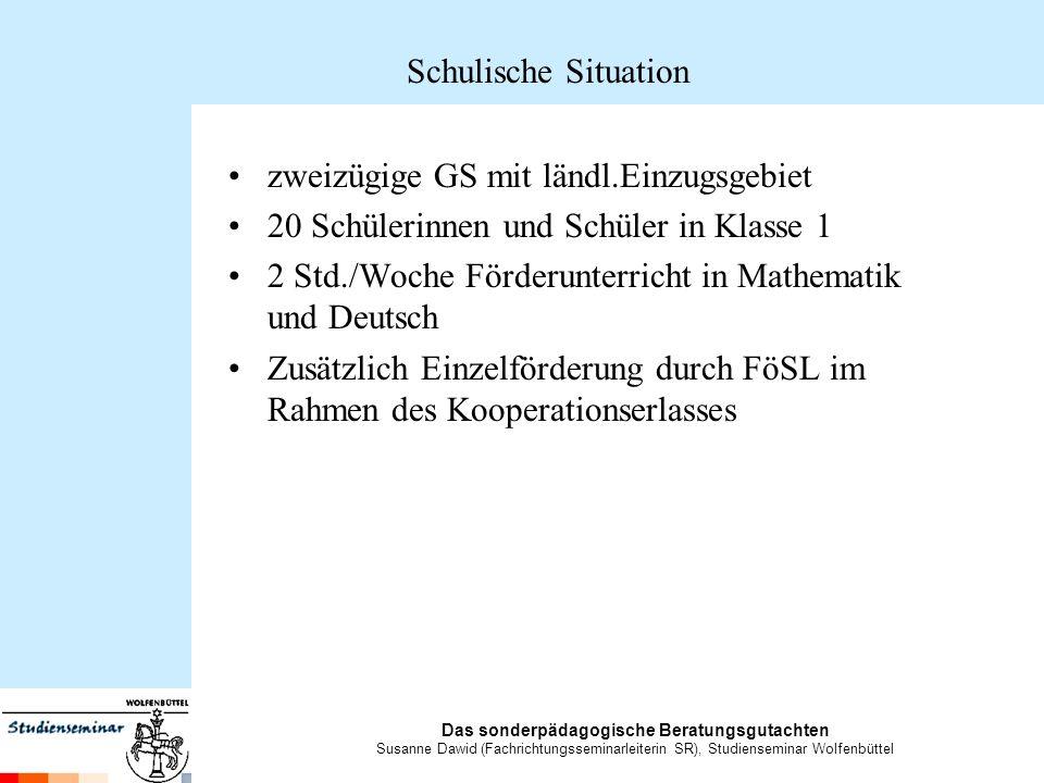 Schulische Situation zweizügige GS mit ländl.Einzugsgebiet. 20 Schülerinnen und Schüler in Klasse 1.