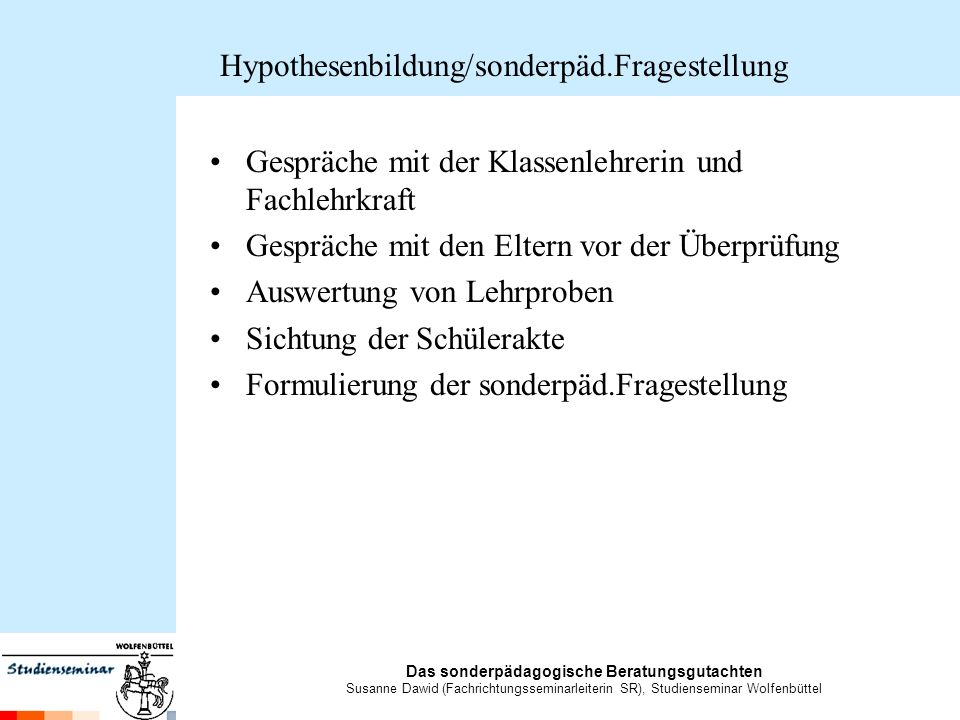 Hypothesenbildung/sonderpäd.Fragestellung