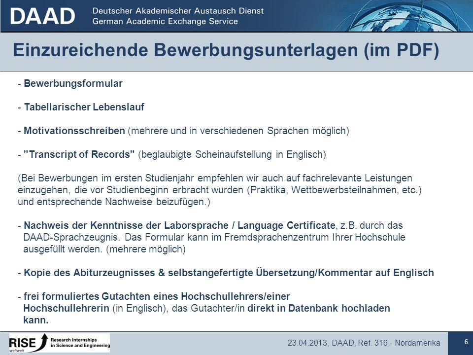 Einzureichende Bewerbungsunterlagen (im PDF)