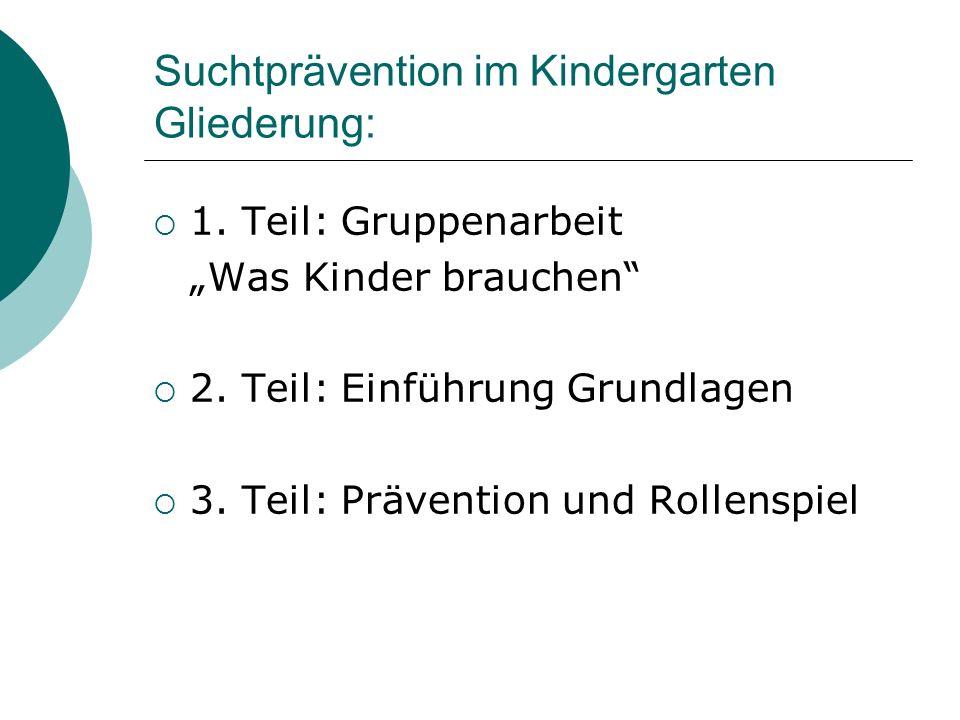Suchtprävention im Kindergarten Gliederung: